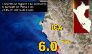 Ica: sismo de 6.0 remeció la zona de Palpa