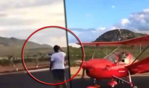 Brasil: avioneta golpea con el ala a un hombre que grababa su despegue