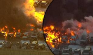 EEUU: cerca de una decena de autos se incendiaron en el aeropuerto de Newark