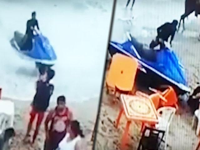 Mujer casi pierde la vida al ser embestida por una moto acuática en Máncora