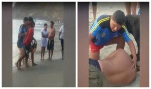 Huacho: rescatan a bañista que por poco se ahoga en playa