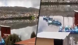 Pasco: laguna Partaconcha se desborda debido a torrenciales lluvias