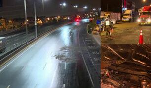 El Agustino: derrame de aceite provoca múltiples accidentes de tránsito en Vía Evitamiento