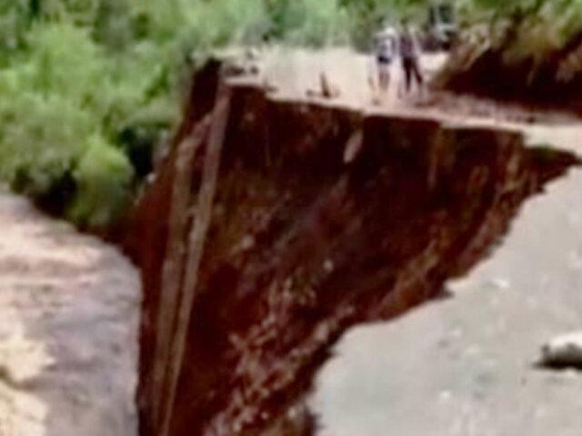 Parte de la carretera Ambo-Oyon colapsa por crecida de río en Huánuco