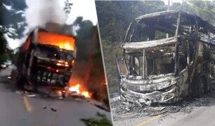 Bus interprovincial se incendió en la carretera Interoceánica cerca a Puerto Maldonado