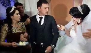 Novio abofeteó a su pareja en plena ceremonia de boda
