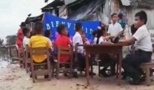 Iquitos: escolares inician clases estudiando en la calle