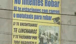 SMP: vecinos colocan cartel amenazando con linchar a delincuentes