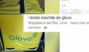 Mochilas de empresa Glovo son vendidas por Internet
