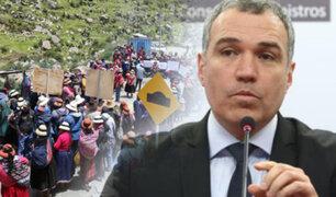 Las Bambas: Del Solar asegura que liberación de dirigente no depende del Gobierno