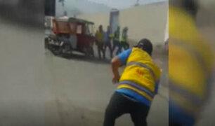 Pelea entre fiscalizadores y mototaxistas dejó varios heridos
