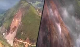 Áncash: parte de cerro se desprende y bloquea carretera a Sihuas