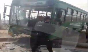 Ramiro Prialé: bus chocó contra un poste de alumbrado público y dejó varios heridos