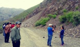 Áncash: deslizamiento bloqueó carretera Longitudinal Conchucos