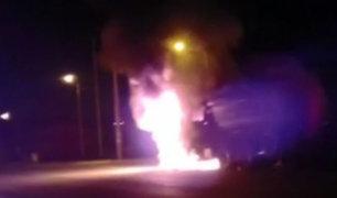La Oroya: queman tráiler que causó muerte de dos menores