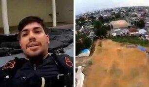 Paracaidista casi pierde la vida al estrellarse contra una casa
