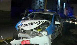 Cercado de Lima: patrullero de serenazgo es impactado por auto