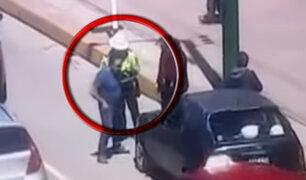 Huancayo: conductor agrede e intenta atropellar a policía que le puso una papeleta