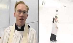 Reino Unido: Cura patinador de hielo causa furor en Manchester