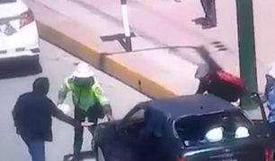 Junín: sujeto que empujó a policía en Huancayo defendió su accionar