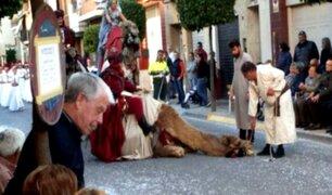 España: un camello se desmaya en popular festividad