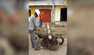 Lurín: Telefónica se encuentra reparando postes derribados
