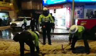 Puno: lluvia y granizo cubrieron las principales calles de Juliaca