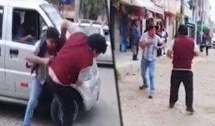 Huancayo: conductores se agarran a golpes en vía pública