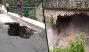 Apurímac: hombre cayó en una enorme grieta formada por crecida de río