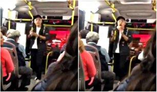 VIDEO: joven sorprende con peculiar canto en transporte público