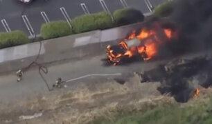EEUU: auto se incendia durante persecución policial
