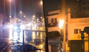 Fuerte llovizna ocasionó explosión de poste de telecomunicaciones y accidentes de tránsito