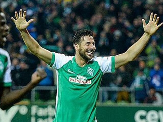 Claudio Pizarro anotó gol en el Bremen vs. Leipzig por la Bundesliga