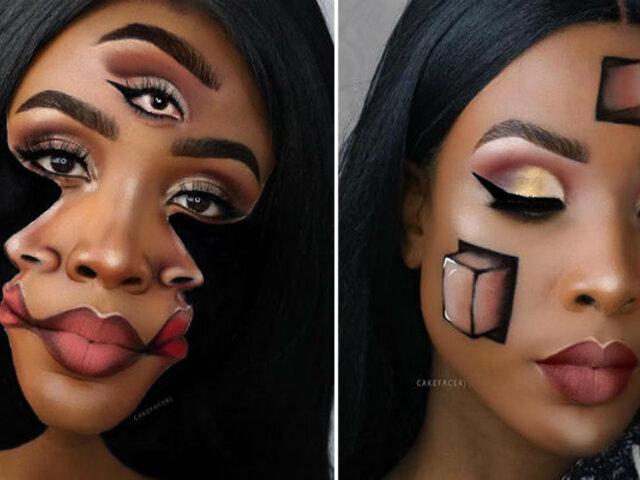 Maquilladora crea increíbles ilusiones ópticas en su rostro