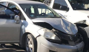 Cañete: cámara capta aparatoso choque entre un auto y camioneta