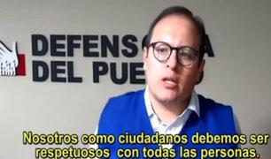 Defensoría del Pueblo se pronuncia sobre video que promueve la xenofobia