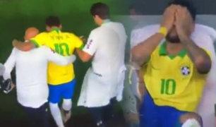 Neymar salió lesionado a los 19 minutos del primer tiempo en Amistoso ante Catar