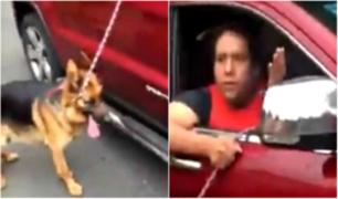 Hombre es captado arrastrando a su perro desde camioneta en movimiento