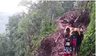 Huánuco: cargan más de tres kilómetros a mujer para salvar su vida