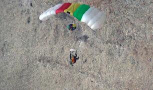 Paracaidista francés se fractura una pierna durante competencia