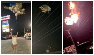 Joven provoca explosión y deja sin luz a todo un barrio por soltar globos al aire