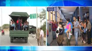 Tumbes: Ejército traslada a venezolanos para evitar hacinamiento
