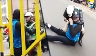 La Victoria: agente de la policía redujo a vigilante que le faltó el respeto