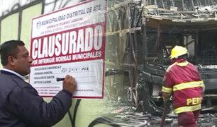 Ate Vitarte: clausuran por 30 días local donde se incendiaron dos buses interprovinciales