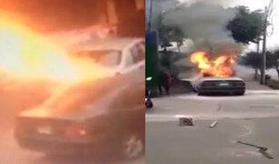 La Victoria: vehículo se incendia y conductor resulta con quemaduras