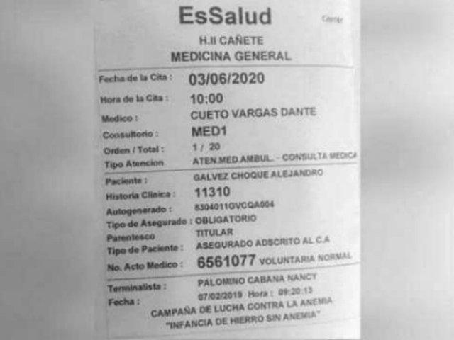 EsSalud se pronuncia sobre cita a paciente en Cañete programada para 2020