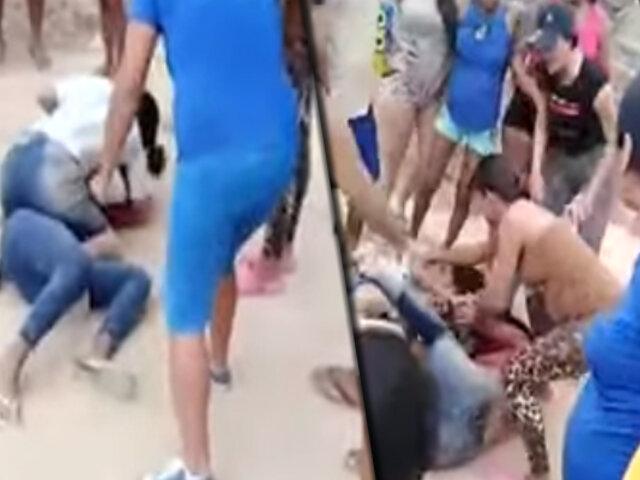 Tumbes: mujeres arman pelea callejera por el amor de un hombre
