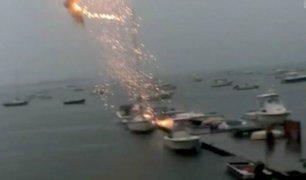 Relámpago destruye velero en puerto de Estados Unidos