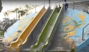 Los Olivos: niños en peligro por juegos infantiles de parque en mal estado