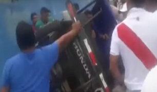 Iquitos: turba agrede a sujeto que golpeó a su pareja en la calle
